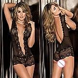 Lingerie in pelleSexy Lingerie Babydoll Dress Long Nightgown Women Transparent Erotic Lingerie PlusLace Underwear Sleepwear-White_L