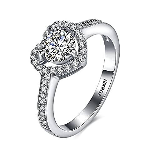 Eternity Love Women Wedding Engagement Rings 18K Gold Plated Cz Diamonds Bands Solitaire Princess Cut Promise Anniversary Bridal Jewelry Infinity Love for Her, JPR807-9-UK