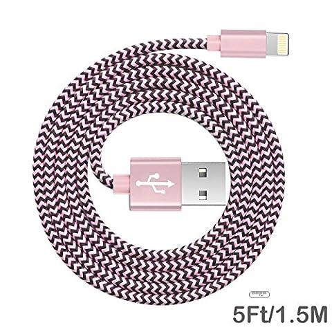 Iphone lightning kabel BECASO nylon Ladekabel Datenkabel 1,5M für iPhone 7/7 Plus SE 6S/6S Plus/6 Plus, 5S/5C/5S Plus/5 Plus, iPad Air 2, iPad Mini