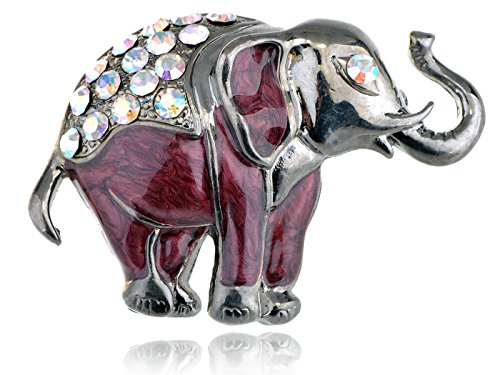 Alilang Nickel Farbtone Schillernde Strass Perlglanz Maroon Elefant Brosche