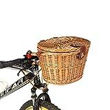 ~ Trendy Klassische Removable Wicker Radfahren Fahrrad-Frontkorb Box Fahrradkorb Mit Deckel