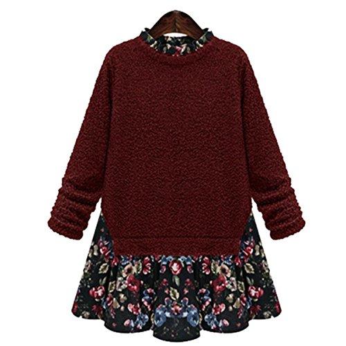 Cuciture Moda Casual Primavera Donna Di Grandi Dimensioni Vestito Floreale Red