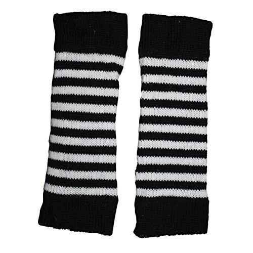 Freak Scene® Warmhaltende Arm und Bein Stulpen, Farbe: Beinstulpen schwarz-weiß gestreift (Bein-stulpen)