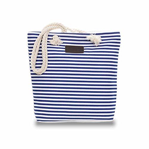 ZhengYue Strandtasche mit Reißverschluss 33 x 30 x 10 cm gestreift Shopper Schultertasche Badetasche Umhängetasche für Reise, Kaufen, Ausflug usw Blau