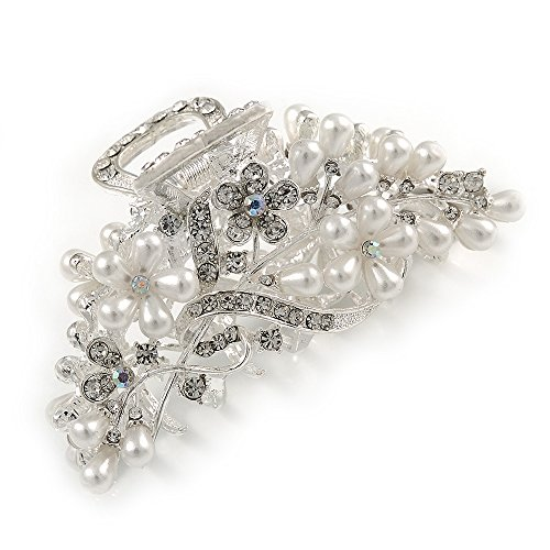 Large Bridal/ Prom/ Wedding Crystal, Faux Pearl Floral Hair Claw In Silver Tone Metal - 90mm Across