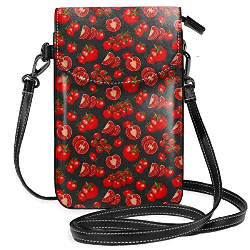 WAUKaaa Delicious Tomatoes Leather Cell Phone Purse Holder Wallet Functional Multi Pocket for Women -
