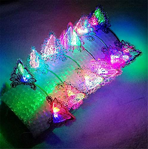 XIANGMAI Party Cosplay Kostüm Stirnband Multi-Color LED Spitze Katze Tier Ohr Flashing Haarbänder Kopfschmuck Glowing Party Supplies Haarband 5 Teile/Paket(Style 5)
