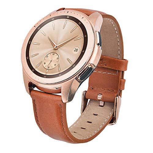 V-MORO Galaxy Watch 42mm Armband,20mm Soft Genuine Leder Replacement Echtleder Ersatz Smart Watch Bracelet Uhrenarmband für Galaxy Watch 42mm/Garmin VivoActive 3(Camel) (Smart Watch Leder)