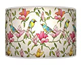 ARK HOUSE Lampenschirm 939 für Tisch- oder Stehlampe, 30 cm, Blumenmuster, handgefertigt, Giclée-Druck, Stoff, Pink/Grün
