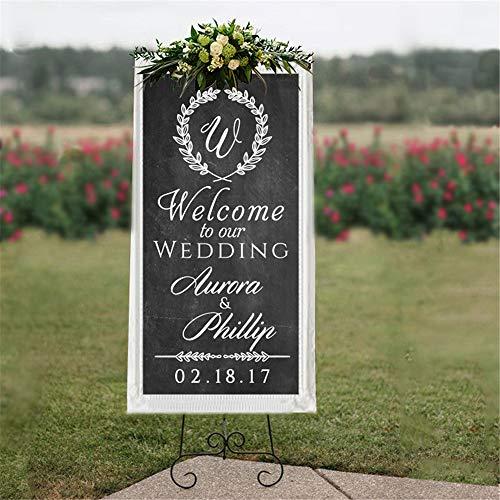 wlwhaoo Personalisierte Hochzeit Willkommensschild Wall Decal-Willkommen zu unserer Hochzeit Custom Name Vinyl Aufkleber für Hochzeit gelb 91X42cm