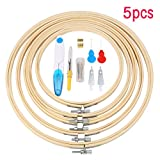 KING DO WAY 5pcs Stickrahmen, Kreuz Stitch Hoop Ring aus Bambus, 15.5/18.5/20.5/23/26cm (5pcs)