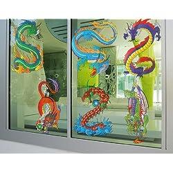 Vinilo de ventana no.330 Dragon Set, Dimensione:122cm x 130cm