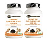 Turmeric Curcuma 1000mg Curcumina + Piperina + Zenzero - Bruciagrassi   Capsule a dosaggio elevato   estratto secco di curcuma titolato al 95% e di Pepe nero titolato al 95%   Curcumina - elevata biodisponibilità   120 compresse