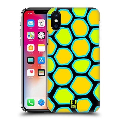Head Case Designs Giraffa Ciano Stampe Pazze Cover Retro Rigida per Apple iPhone X Serpente Giallo