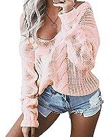 Minetom Femme Automne Hiver Pulls Col V Pull à manches longues Sans Bretelles Jumper Tricots Tops Sweater Rose FR 42