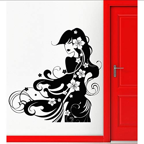 Geisha Bath (tzxdbh Wandaufkleber Vinyl Aufkleber Geisha Hot Sexy Oriental Girl Salon Wohnkultur Fenster Schaufenster Decals Removable Wandbild 56 * 57 cm)