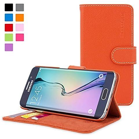 Coque Galaxy S6 Edge, Snugg Samsung Galaxy S6 Edge Etui à Rabat [Emplacements Pour Cartes] Cuir Portefeuille Housse Désign Exécutif [Garantie à Vie] - Orange, Legacy Range