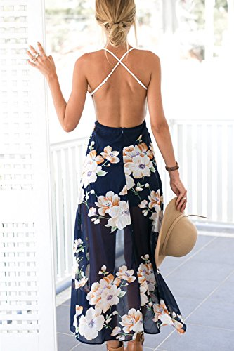 Babyonline® Sommerkleid Damen Ärmellos Strandkleider Boho Casual Lang Maxikleid Cocktail Beachwear MC01