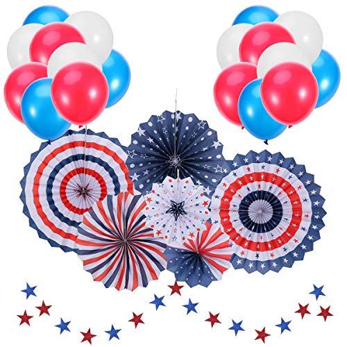 Amosfun 37 stücke Unabhängigkeitstag Ballon Papier Fan Dekoration Set für Party Dekoration