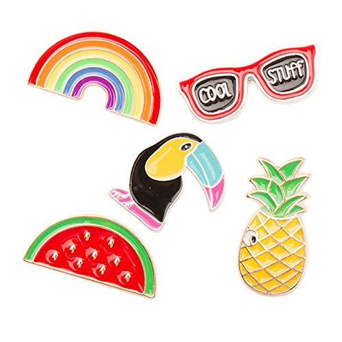 Kreativ Cartoon Brosche Set Unisex Specht Brille Wassermelone Ananas Regenbogen für Kleidung Taschen Rucksäcke Jacken 5 Stck für Frauendame