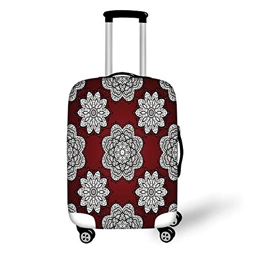 Travel Luggage Cover Suitcase Protector,Maroon,White Doodle Style Round Mandala Flowers Lacy Victorian Contours Romantic Decorative,Maroon Black White,for TravelL 25.9x37.8Inch - Lacy Baby-sets