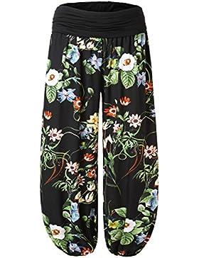 BAISHENGGT Mujer Pantalones Harem con Cintura Elastica Negro N4-Estampado X-large