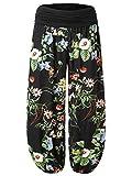 BaiShengGT - Femme Pantalon Bouffant Large Bande Imprime Taille Haute Stretch Fleur XL