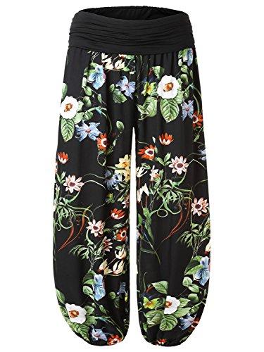 BAISHENGGT Damen Pumphose Haremshose Blumenmuster Lange Hose Schwarz-3 XL (Hawaii-fall Schwarzes)
