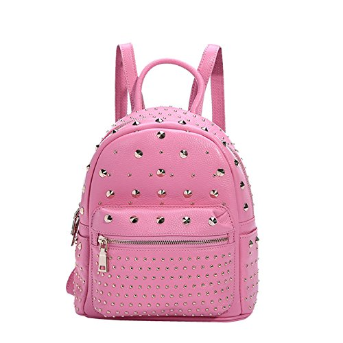 Dissa Q0566 femme sac à main cuir solide Sacs portés dos,23x26x13cm (L x H x T) Rose