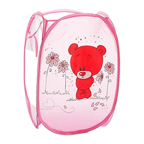 hangnuo-Cesto portabiancheria pieghevole nylon vestiti, giocattoli Cesto pop-up Casa Organizer Bins Pink Bear