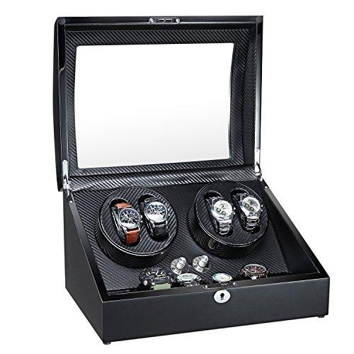 Holz Double Automatische Uhrenbeweger 4+ 6Aufbewahrungsboxen für 10Uhren