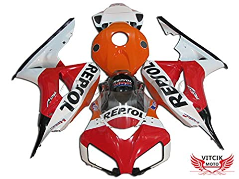 VITCIK (Fairing Kits Fit for Honda CBR1000RR 2006 2007 CBR1000 RR 06 07) Plastic ABS Injection Mold Complete Motorcycle Body Aftermarket Bodywork Frame(Red & White)