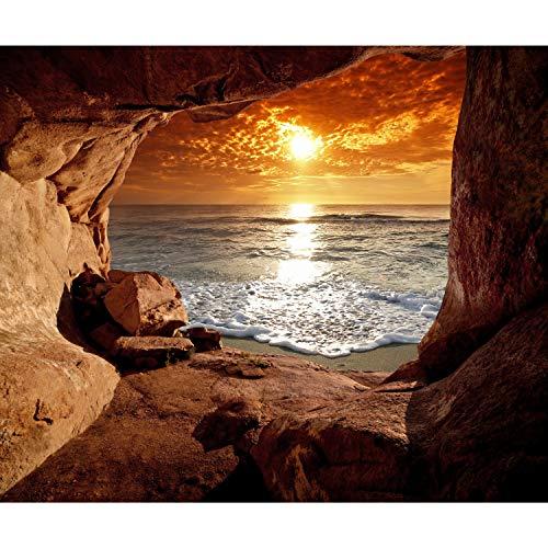 decomonkey Fototapete Meer Strand 400x280 cm Tapete Fototapeten Vlies Tapeten Vliestapete Wandtapete moderne Wand Schlafzimmer Wohnzimmer Sonnenuntergang Landschaft