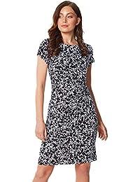 96891478c144 Roman Originals Women Leaf Twist Waist Dress - Ladies Smart Work Formal Office  Business Interview Special Occasion Print Knee Length…