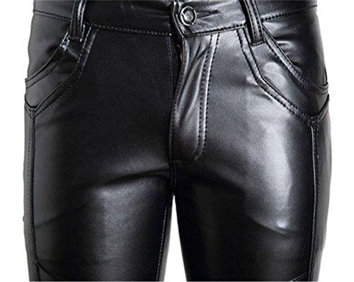 Idopy Herren Slim Fit Soft PU Faux Leder Biker Hose Trachtenlederhose Trachtenlederhose Lederhosen Schwarz 2#