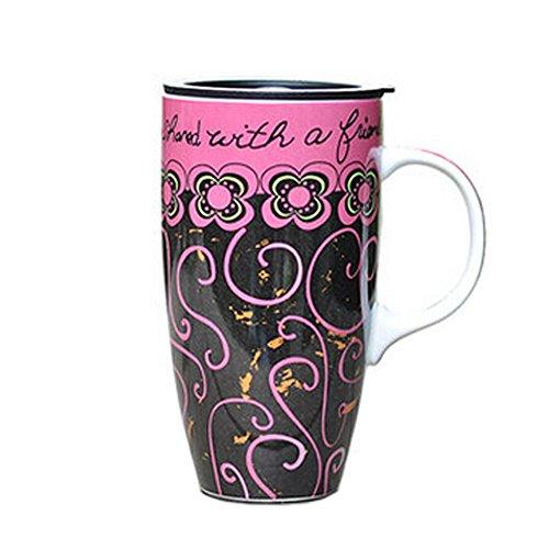 Blancho Coupe de céramique colorée tasse de café/café Avec Motif vigne, rose et noir