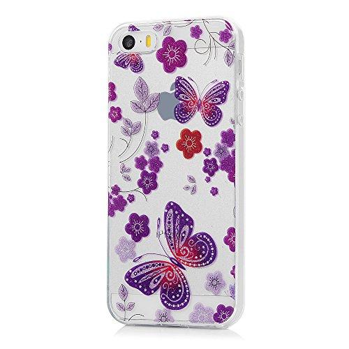 MAXFE.CO TPU Silikon Hülle für iPhone 5 SE TPU Handyhülle Schale Etui Protective Case Cover Rück TPU Kantenschutz Gemalt Gelitzern IMD Design Schutzhülle Schmetterling Schmetterling