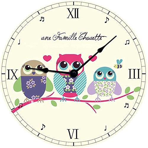 Wanduhr Kinderwanduhr Kinderuhr Uhr aus Holz Rund Wanddeko Kinderzimmer - Eule