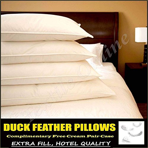 Textile Online * * SPECIAL OFFER * * 4X Duck Feather Hotel Quality Pillows