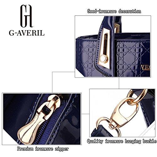 (G-AVERIL) Borse In Vera Pelle Designer Top-Handle Spalla Del Tote Della Borsa Per Le Donne viola