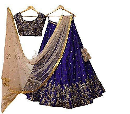 StyleVilla Women\'s Party Wear New Collection Special Sale Offer Bollywood Navy Multicolour Heavy Bridal Wedding Lehenga Chaniya Ghagra Choli lehenga choli