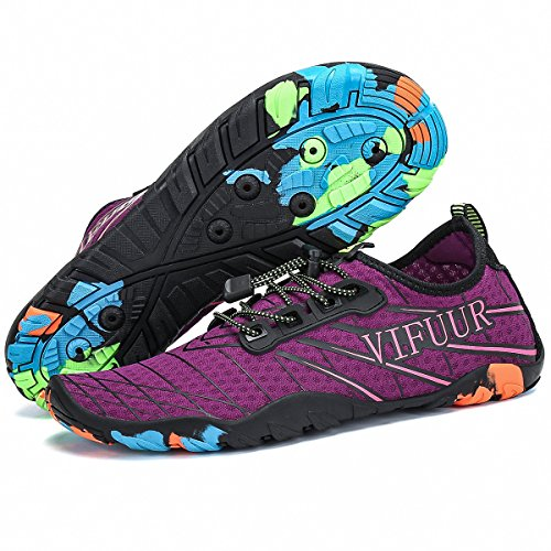 VIFUUR Männer Frauen Aqua Schuhe Quick Dry Water Shoes Outdoor Hallenschuhe für Bootfahren Kajak Tauchen Strand Schwimmen Yoga lila EU35