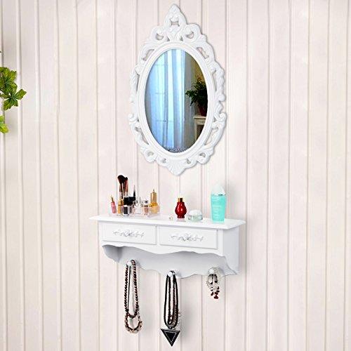 Songmics kleine Schminktisch 2 Schubladen Wandkonsole mit Spiegel, Haken Landhaus weiß RDT16W - 5