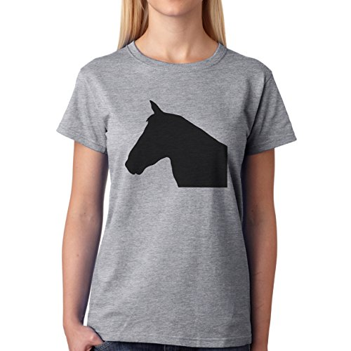 Horse Animal Pony Stud Head Profile Damen T-Shirt Grau