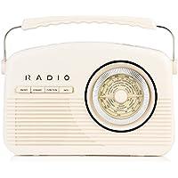 Akai A60010CDAB Retro DAB Radio Alarm Clock with LCD Display and Backlight - Cream - ukpricecomparsion.eu