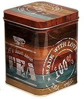 Vintage bois flotté–Let's Have Thé–Style Rétro Couvercle à charnière carré Boîte à thé 200g/Boîte de rangement de cuisine–11cm