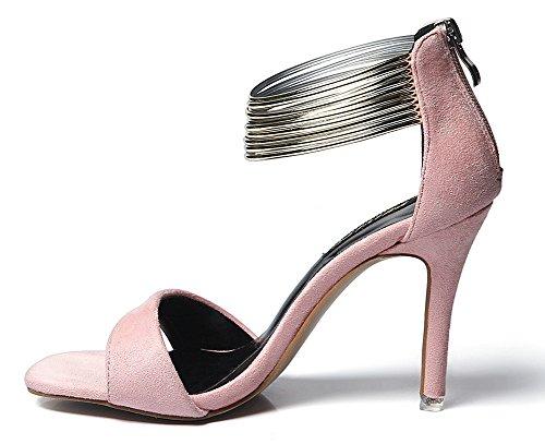 Cinturino Aperta Punta Metallo Donna Rosa Sandali Caviglia Aisun Alla C0tqx