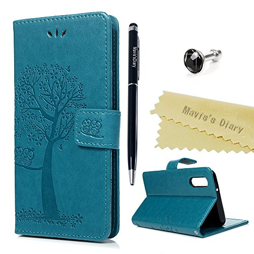Huawei P20 Pro Hülle Case Mavis's Diary Eule Baum Muster Leder Tasche Handyhülle Flip Cover Schutzhülle Lederhülle Skin Ständer Schale Handytasche Bumper Magnetverschluss Ledertasche-Blau