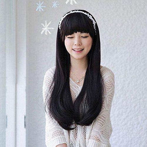 Stylisch? flauschig realistisch? halben Kopf Perücke lange? gerade? Haar? Perücke? Fasern? Synthetik? Damen? Perücke, schwarz ()