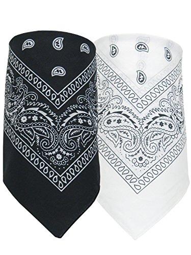 GROJADORI® 2er Set Bandana Halstuch Nickytuch Paisley Muster reine Baumwolle, Schwarz-Weiß (Paisley Schwarz & Weiß)